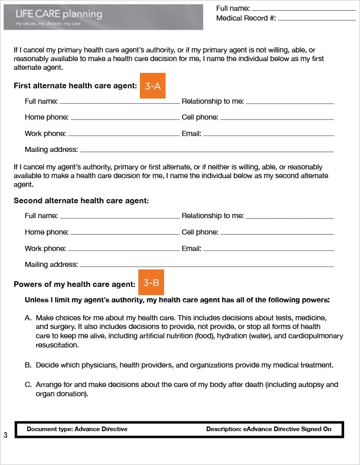 California Advance Health Care Directive, page 3