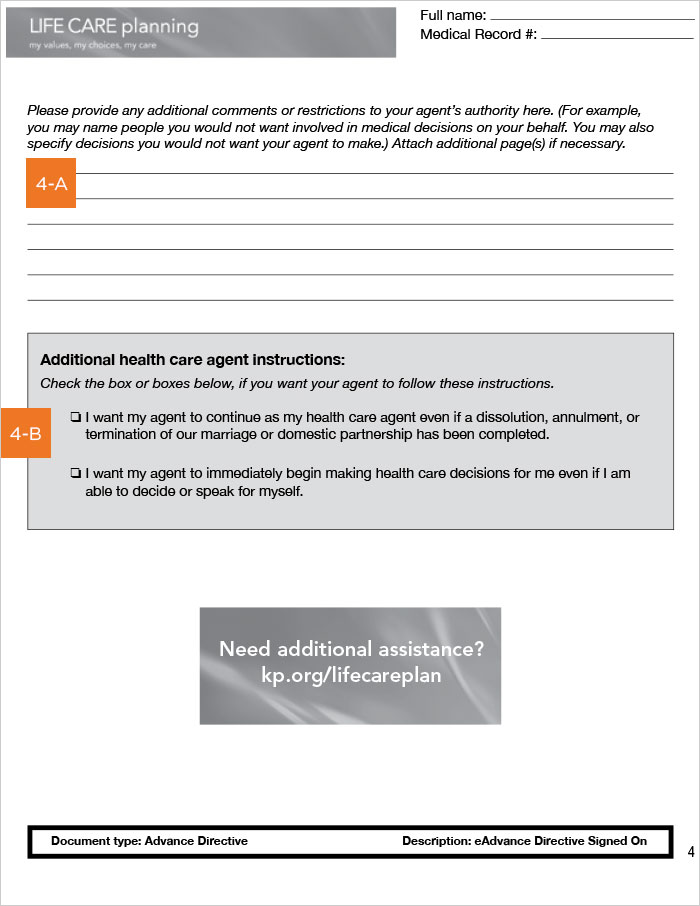 California Advance Health Care Directive, page 4
