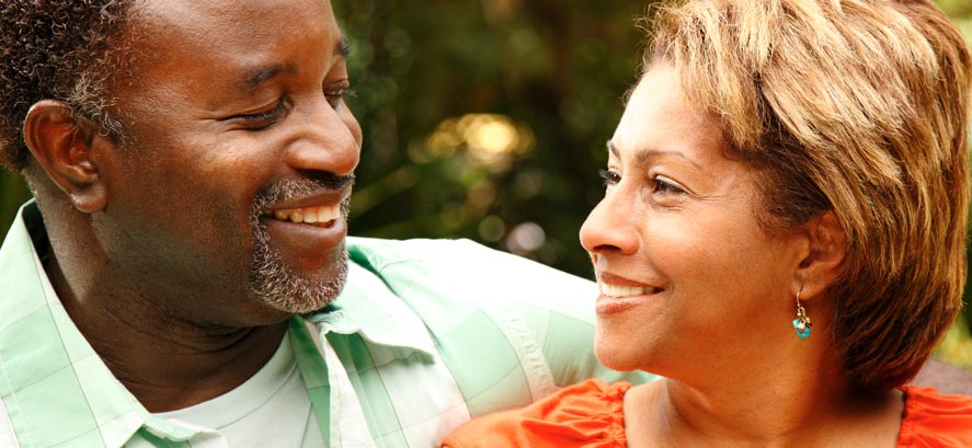 Older African-American couple smiling