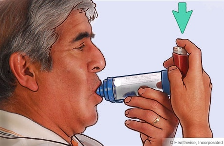 Picture of a man pressing down on the inhaler