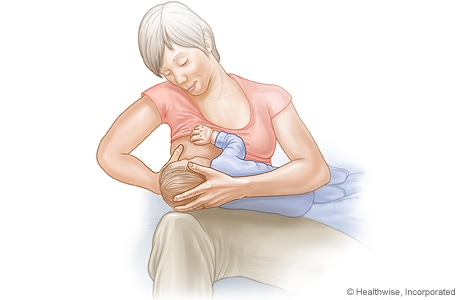 Cross-cradle hold for breastfeeding