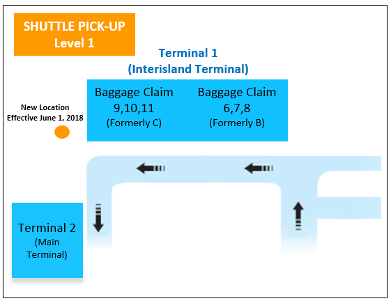 Airport shuttle pick-up map